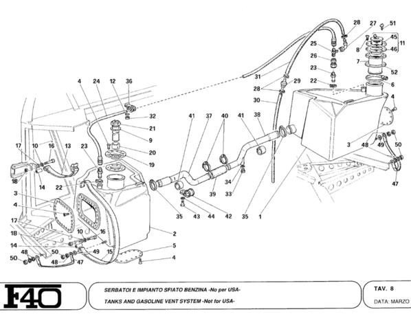 Ferrari F40 Fuel Tanks and Fittings