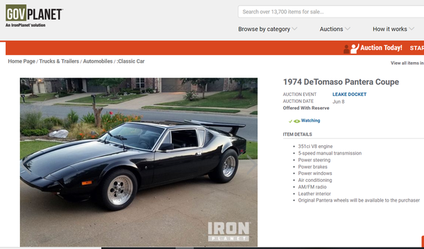 GovPlanet Auction - Pantera June 8th