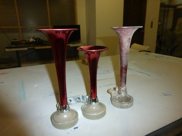 chrome replacements with VHT red anodized paint, original on right